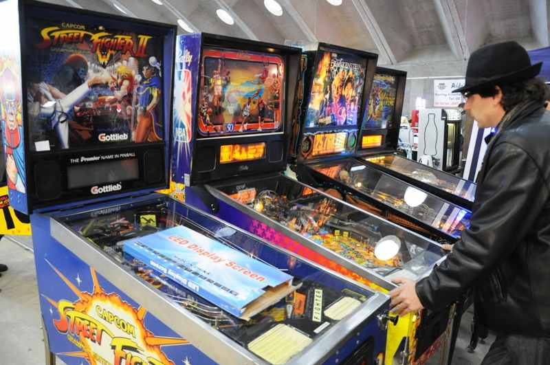 Street Fighter 2, NBA Fastbreak and Frankenstein pinball machines