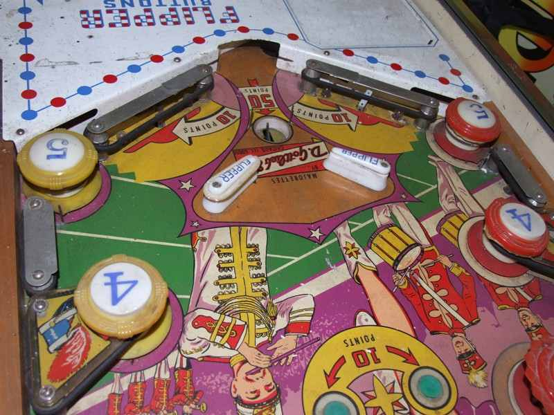 Gottlieb Majorettes pinball machine playfield and apron