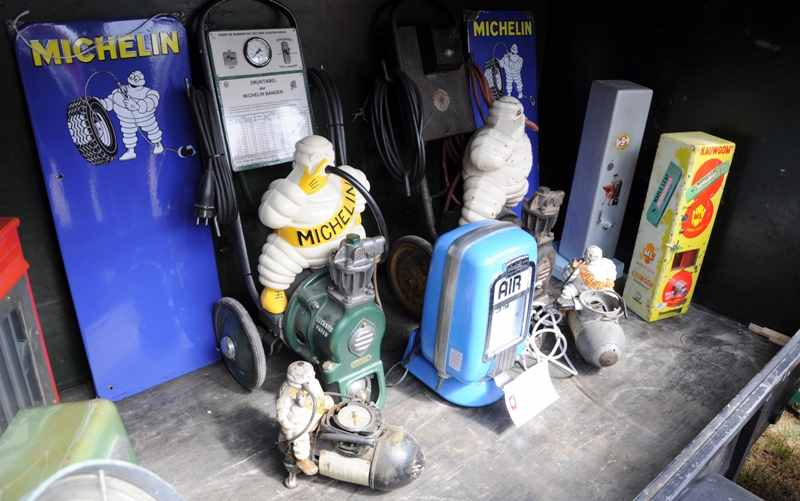 restored michelin bibendum air pumps
