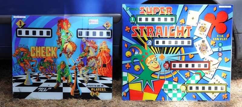Check and Super Straight pinball backglasses